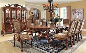 medieve antique oak finish formal 7 piece dining room table set