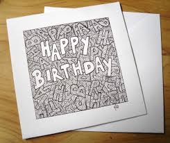 Doodle Birthday Card Doodle Art Birthday Card Black Ink Drawing Greetings Card 3 95