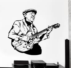 wall vinyl decal jazz blues man guitar song home interior decor