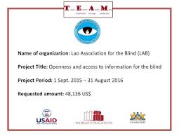 World Access For The Blind Lao Association For The Blind Lab Team Laos