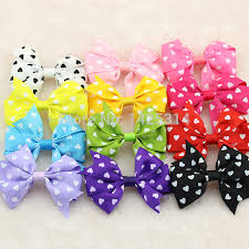 colorful ribbon heart cordate prints children hair accessories colorful