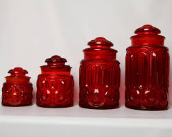 glass kitchen canister set vintage ruby moon depression glass set of 4 moon