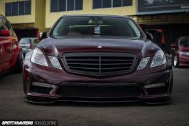 bagged mercedes e class laying out a late model benz speedhunters
