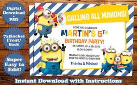 instant download minions birthday invitation template birthday