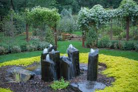 Backyard Waterfalls Ideas Exterior Design Outdoor Fountain In Rustic Landscape With Pond