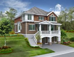 hillside home plans basement sloping lot hoe inspirations modern