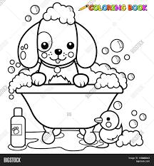 dog bath coloring book vector u0026 photo bigstock