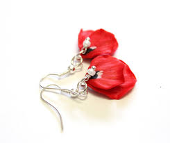 poppy earrings petal poppy poppy drop earrings flower drop