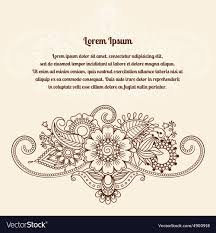 mehndi card floral henna indian mehndi card royalty free vector image