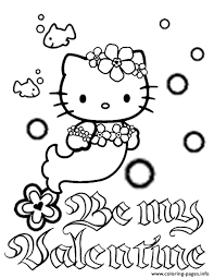 kitty mermaid bubbles flower valentines coloring pages
