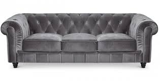 canapé chesterfield canapé chesterfield 3 places velours argent lestendances fr