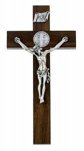 wall crucifixes for sale wide cross edge walnut st benedict wall crucifix 8 from catholic
