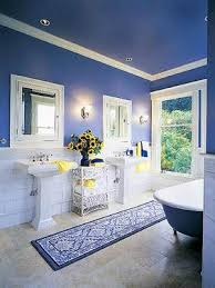 blue and yellow bathroom ideas blue white powder room paint the ceiling dynamite decor