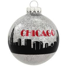 chicago skyline silver sparkle glass ornament hungary made