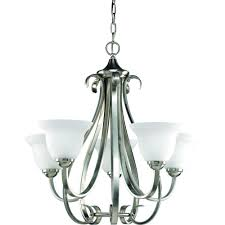 Chandelier Lighting Fixtures by Progress Lighting Torino Collection 5 Light Brushed Nickel