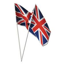 British Flag Dress Pack Of 50 Plastic Union Jack Hand Waving Flags Peeks