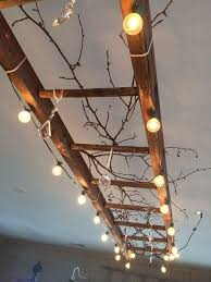 Ceil Lights Use Patio Lights And A Ladder To Make A Statement Ceiling
