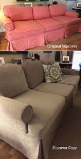 How To Make A Slipcover For A Sleeper Sofa Ticking Stripe Slipcover Makeover For An Outdated Plaid Sleeper