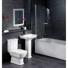 charming grey stone floor simple bathtub window white varnished