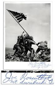 Flag Iwo Jima Lot Detail Joe Rosenthal Signed Photo Of Iwo Jima Flag Raising
