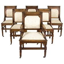 Eastlake Bedroom Set Set Of Six Antique Carved Walnut Eastlake Dining Chairs For Sale