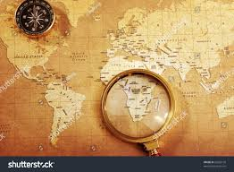 Old Treasure Map Old Brass Compass On Treasure Map Stock Photo 56203126 Shutterstock