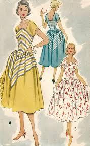 v shaped dress pattern vintage 50s mccalls 9220 misses midcentury shaped neckline full