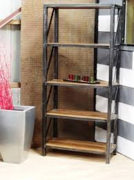 bureau industriel bois et metal etagères biblithèque bois et métal bibliotheque metal meuble