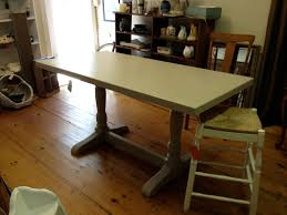chalk painted butcher block dining table simply vintage of cape cod