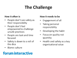 Challenge Unsafe Developing A Safety Culture Forum Interactive The Challenge How