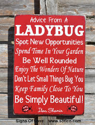 Outdoor Decorative Signs Ladybugs Advice From A Ladybug Wood Sign Garden Patio Outdoor