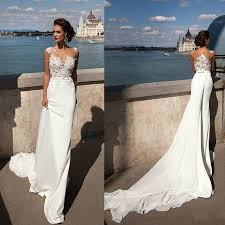 discount bridal gowns princess mermaid 2016 lace wedding dresses sheer neck ribbons