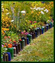 Bottle Garden Ideas Upcycle Glass Bottles Into A Garden Border Green