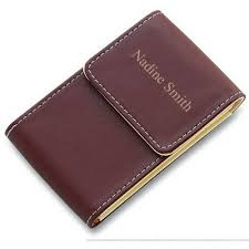personalized leather business card holder personalized business