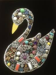 jewelry christmas tree swan ooak art costume jewelry vintage