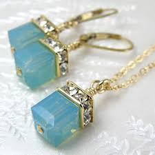 green opal earrings green opal swarovski crystal jewelry set mint cube necklace and