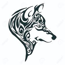 wolf head tribal tattoo sketch drawing isolated royalty free