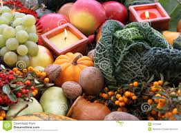 decoration for thanksgiving with fruit and vegetab royalty free