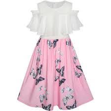 girls dress chiffon butterfly ruffle cold shoulder white pink