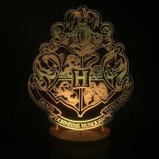 harry potter night light harry potter hogwarts house badge l 7 colors changing illusion