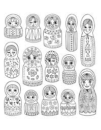 cute russian dolls russian dolls coloring pages for adults