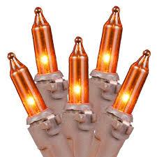 Amber Christmas Lights Amber Christmas Mini Lights Set 50 Light Brown Wire 11 Feet