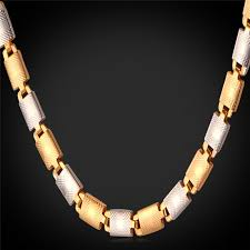 tone necklace images Kpop men jewelry vintage necklace gold silver color two tone jpg