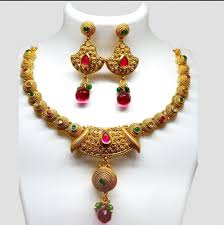 red stone gold necklace images Gold plated with red stone designer necklace necklaces png