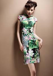 lotus print cheongsam qipao chinese dress