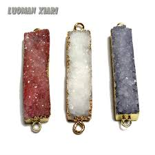 diy stone pendant necklace images Wholesale unique rectangle 2 circle natural druse crystal stone jpg
