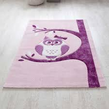 teppich kinderzimmer rosa kinderteppich bakina in rosa lila mit eule pharao24 de