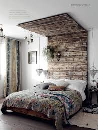 Rustic Interiors by Wooden Pallet Headboard That Goes All The Way To The Top Edgy Yet