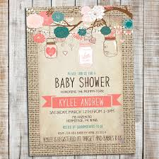 coral baby shower baby shower girl invitation jar pink coral and teal