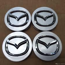 mazda 4 new set mazda gray center wheel caps chrome emblem 56mm hub cap